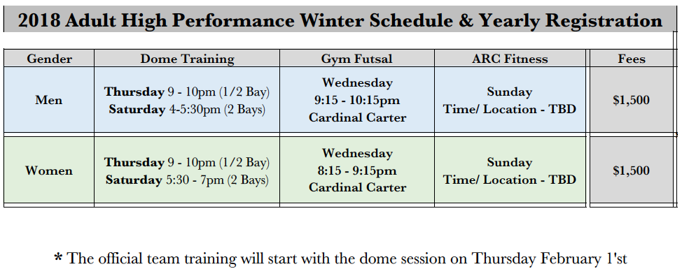 Aurora FC 2018 Adult High Performance Winter Program Scheduling  Fees